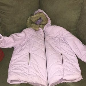 Lilac or lavender bomber with fur trim hood coat